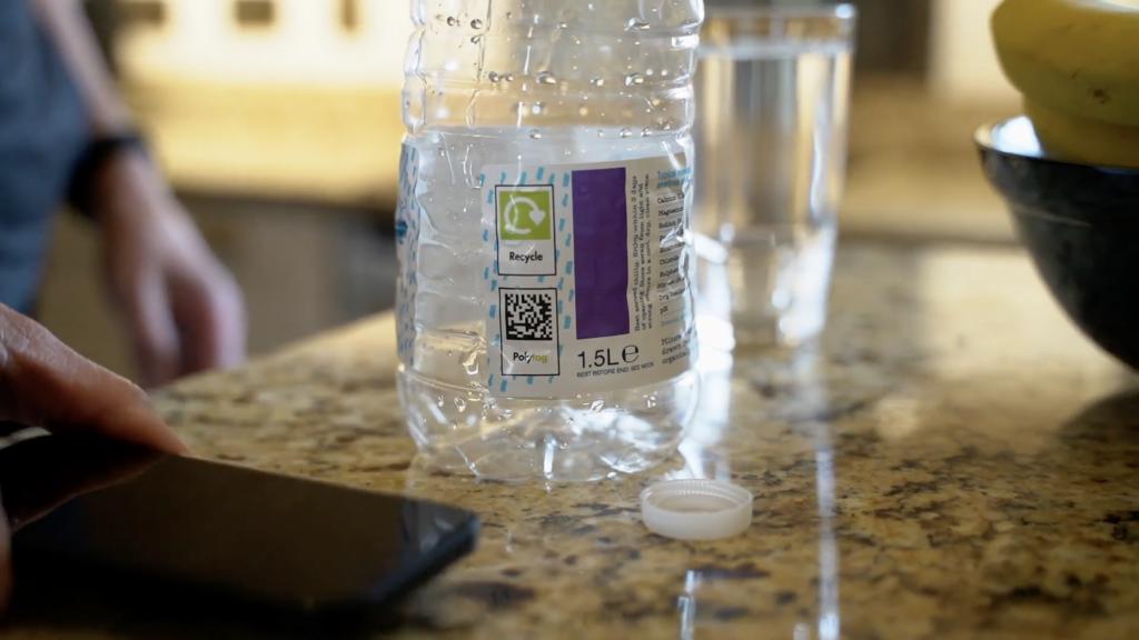A bottle showing the unique Polytag code
